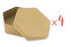 Boîtes hexagonales Ø 10,5 cm -  H : 3,5 cm - Lot de 4 - Boîtes 12131 - 10doigts.fr