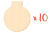Boule de Noël en bois avec trou - Lot de 10 - Motifs brut 13824 - 10doigts.fr