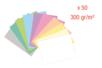 Cartes fortes pastels  300 gr - Lot de 50 : 5 cartes par couleur - Papiers grammage épais 08186 - 10doigts.fr