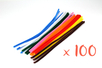 Chenilles ø 6 mm - 30 cm, couleurs assorties - Set de 100 - Chenilles, cure-pipe - 10doigts.fr