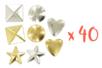 Clous formes assorties, or et argent - 40 pièces (1 set) - Rivets clous à griffe - 10doigts.fr