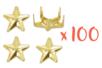 Clous étoiles Dorés - 100 pièces (4 sets) - Rivets clous à griffe 19295 - 10doigts.fr