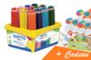 Coffret de 108 maxi crayons de couleur GIOTTO Méga + CADEAU d'une fresque géante + 12 masques à colorier - Crayons de couleurs 33155 - 10doigts.fr