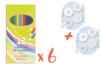 Crayons de couleur - 6 pochettes (72 crayons) + CADEAU 8 toupies à colorier - Crayons de couleurs 18418 - 10doigts.fr