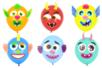 Eléments décoratifs en carte forte pour ballons - 8 Visages rigolos - Ballons, guirlandes, serpentins 38142 - 10doigts.fr