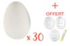 Grands oeufs en plastique blanc 6 x 4,5 cm - Lot de 30 + CADEAU de 3 pochoirs pour oeufs - Oeufs 13056 - 10doigts.fr