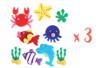 Lot de 3 sets de 9 stickers animaux marins feutrine 2,5 à 5 cm - Formes en Feutrine Autocollante 32092 - 10doigts.fr