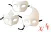 Masques vénitiens en papier blanc - 12 pièces (3 modèles x 4) - Masques 13912 - 10doigts.fr