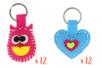 MAXI LOT 12 porte-clés hiboux + 12 porte-clés coeurs en feutrine rembourrée - Kits Mercerie 38073 - 10doigts.fr