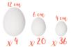 Maxi lot 62 oeufs en polystyrène - Taille 12 cm (x 4) + 6 cm ( x 20) + 4 cm ( x 36) - Supports de Pâques à décorer 13225 - 10doigts.fr