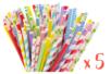 Méga set de 500 pailles en carton - couleurs et motifs assortis - Anniversaires 34191 - 10doigts.fr