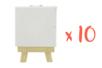 Mini chevalet avec toile - Lot de 10 - Toiles classiques 11246 - 10doigts.fr