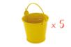 Mini seaux en métal jaune - Lot de 5 - Métal 11764 - 10doigts.fr