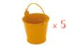 Mini seaux en métal  orange - Lot de 5 - Métal 12690 - 10doigts.fr