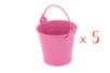 Mini seaux en métal rose - Lot de 5 - Métal 11746 - 10doigts.fr