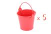 Mini seaux en métal rouge - Lot de 5 - Supports en Métal 12684 - 10doigts.fr