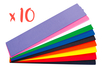 Papier crépon 2 m x 50 cm, 10 couleurs assorties - 10 sets de 10 feuilles - Papier crépon 32220 - 10doigts.fr