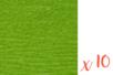 Papier crépon vert 2 m x 50 cm - Lot de 10 feuilles - Papiers de crépon 06035 - 10doigts.fr