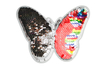 Patch sequin réversible thermocollant - Motif papillon argent & multicolore - Transferts et Thermocollants 36116 - 10doigts.fr