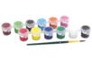 Peinture acrylique - 12 godets de 6 ml  + 1 pinceau - Acryliques scolaire 11068 - 10doigts.fr