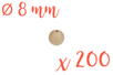 Perles bois rondes ø 0,8 cm - Lot de 200 - Perles en bois - 10doigts.fr