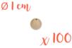 Perles bois rondes ø 1 cm - Lot de 100 - Perles en bois 05154 - 10doigts.fr