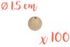 Perles bois rondes ø 1,5 cm- Lot de 100 - Perles en bois 03828 - 10doigts.fr