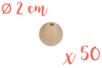 Perles bois rondes ø 2 cm- Lot de 50 - Perles en bois 03827 - 10doigts.fr
