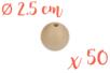 Perles bois rondes ø 2,5 cm-  Lot de 50 - Perles en bois 03826 - 10doigts.fr