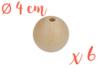 Perles bois rondes ø 4 cm-  Lot de 6 - Perles en bois 35011 - 10doigts.fr