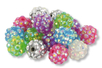 Set de 21 perles Disco - 3 x 7 couleurs assorties - Bijoux Shamballas 16871 - 10doigts.fr