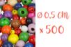Perles rondes en bois couleurs assorties Ø 0,5 cm - 500 perles - Perles en bois 03832 - 10doigts.fr