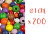 Perles rondes en bois couleurs assorties Ø 1 cm - 200 perles - Perles en bois 03834 - 10doigts.fr