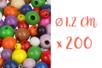 Perles rondes en bois couleurs assorties Ø 1,2 cm - 200 perles - Perles en bois 03835 - 10doigts.fr