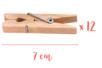 Pinces à linge 7 cm - Lot de 12 - Pinces à linge classiques - 10doigts.fr