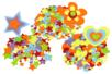 Stickers en feutrine étoiles, coeurs, fleurs - 3 sets de 150 formes (450 formes) - Formes en Feutrine Autocollante 34123 - 10doigts.fr
