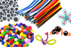 PROMO SUPER PACK: 400 chenilles +  300 pompons +  40 yeux mobiles - Chenilles, cure-pipe 11613 - 10doigts.fr
