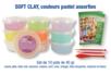 Set de 10 pots de 40 gr de SOFT CLAY, 10 couleurs pastels assorties :  jaune pâle, bleu ciel, saumon, mauve, vert, rose, orangé, bleu turquoise, saumon et blanc  - Divers 15248 - 10doigts.fr