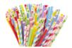 Set de 100 pailles en carton - couleurs et motifs assortis - Anniversaires - 10doigts.fr