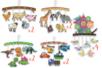 Maxi lot 12 mobiles :  thème Nichoir + Dino + transport + Ferme + Savane - Support pré-dessiné 38358 - 10doigts.fr