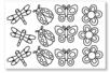 Stickers à colorier : fleurs et insectes - 1 set de 12 stickers - Gommettes à colorier, à gratter 19183 - 10doigts.fr