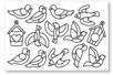 Stickers à colorier : oiseaux et nichoirs - 1 set de 12 stickers - Gommettes à colorier, à gratter 19184 - 10doigts.fr