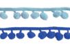 Galons à pompons - Camaïeu de bleus - 2 galons - Rubans et cordons 36234 - 10doigts.fr