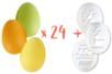 Grands oeufs en plastique coloré - 6 x 4,5 cm - Lot de 24 + CADEAU 3 pochoirs oeufs - Oeufs 13060 - 10doigts.fr