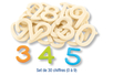 Chiffres en bois naturel - 30 pièces - Motifs brut 11657 - 10doigts.fr
