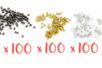 Perles à écraser - 3 couleurs (or, argent, noir) - 300 pièces - Perles à écraser 06080 - 10doigts.fr