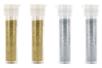 Set de 4 tubes de paillettes : 2 or et 2 argent - Paillettes à saupoudrer 10618 - 10doigts.fr