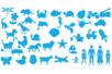 Set de 40 pochoirs + 40 tracettes (dinosaures, printemps, silhouettes, véhicules, animaux, océan) - Gabarits, tracettes 19910 - 10doigts.fr