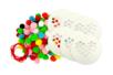 Set de 6 disques cœurs à colorier avec pompons - Support pré-dessiné - 10doigts.fr