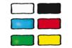 Set de 6 flacons assortis : jaune, rouge, bleu clair, vert clair, blanc et noir + CADEAU d'un contour noir - Peinture Verre et Faïence 10990 - 10doigts.fr